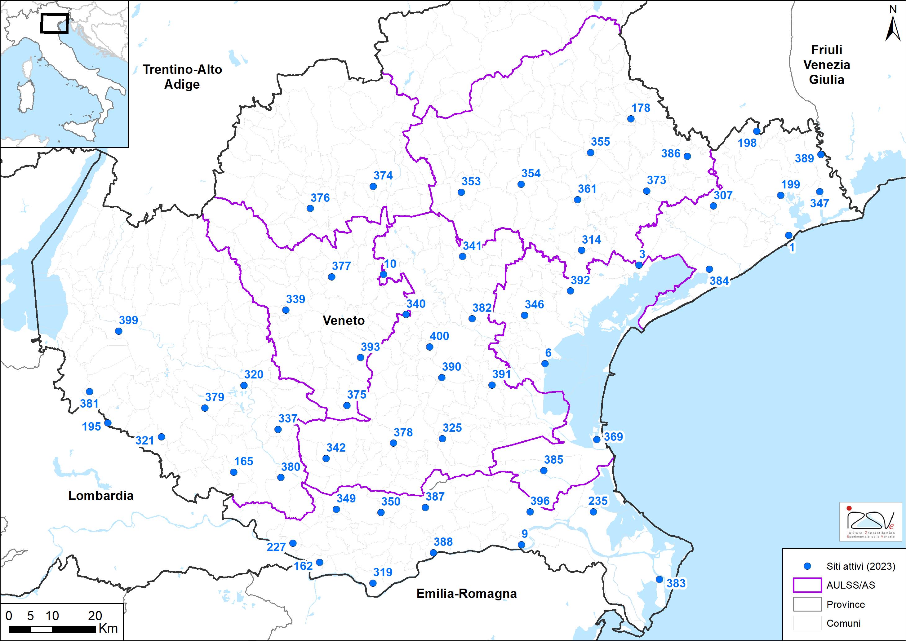 Mappa trappole per sorveglianza entomologica in Veneto