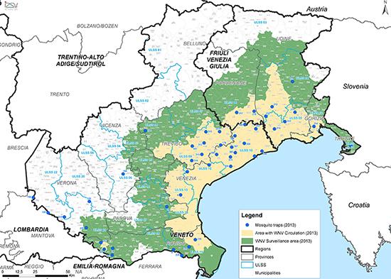 Figura 1. Localizzazione delle trappole per la sorveglianza entomologica per la WND.
