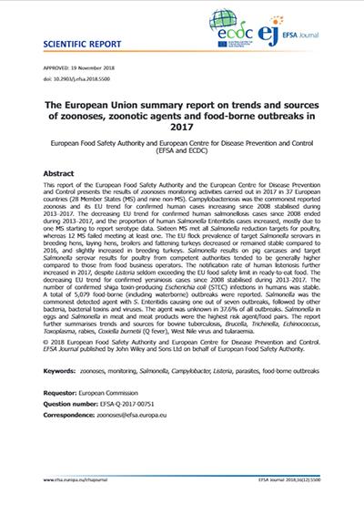Report EFSA ECDC tossinfezioni 2017